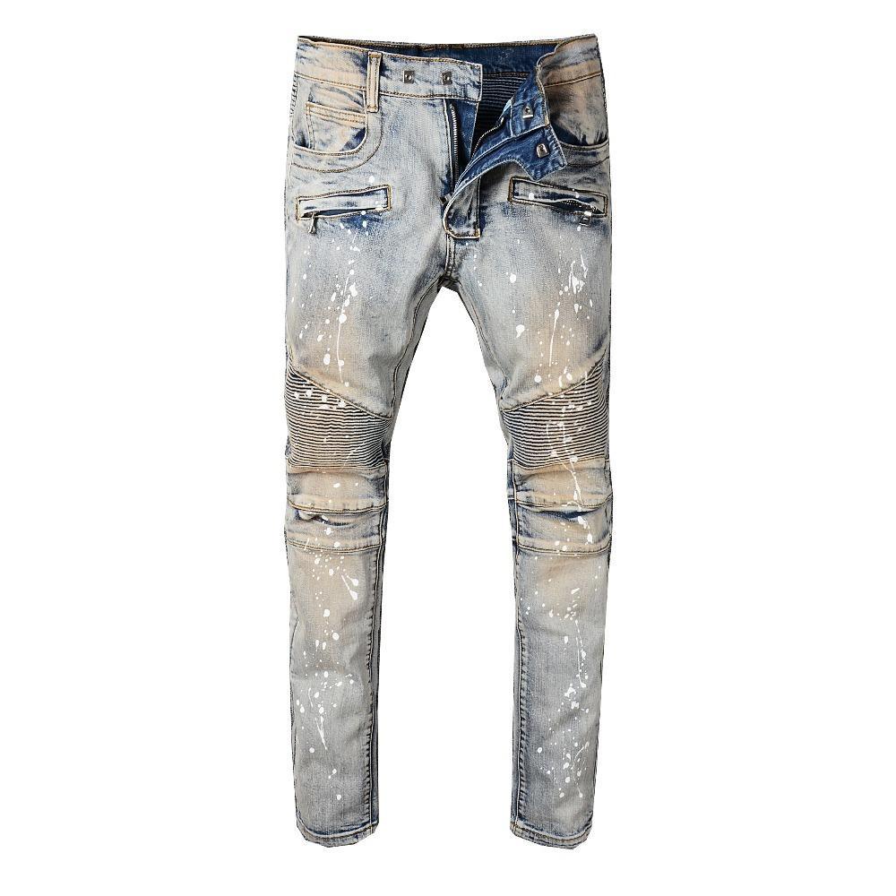 Moda Streetwear Jeans retro amarelo Lavados Slim Fit emendado Tinta Designer Hip Hop Jeans Men Top Quality Biker Jeans Homme MX200814