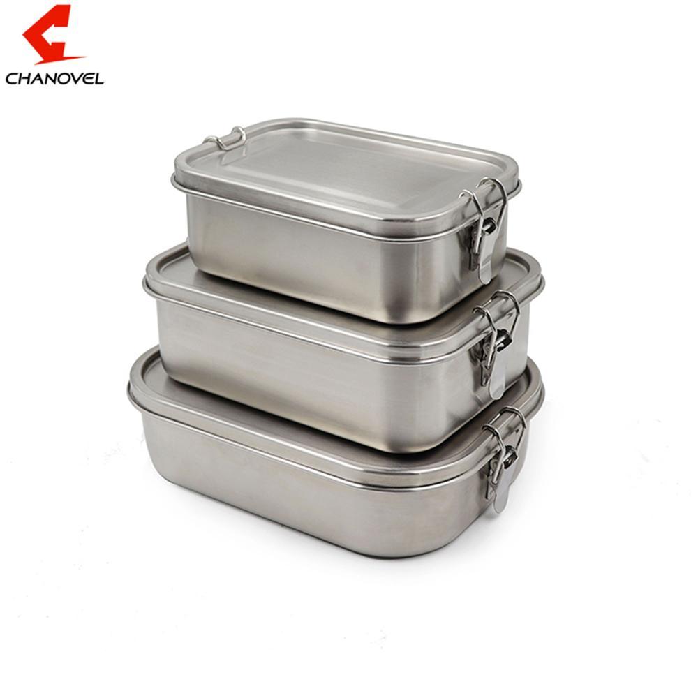 CHANOVEL 304 Edelstahl Lunch Box Single Layer Adult Mittagessen-Behälter versiegelt Leakproof rechteckig mit Teiler Cl200920