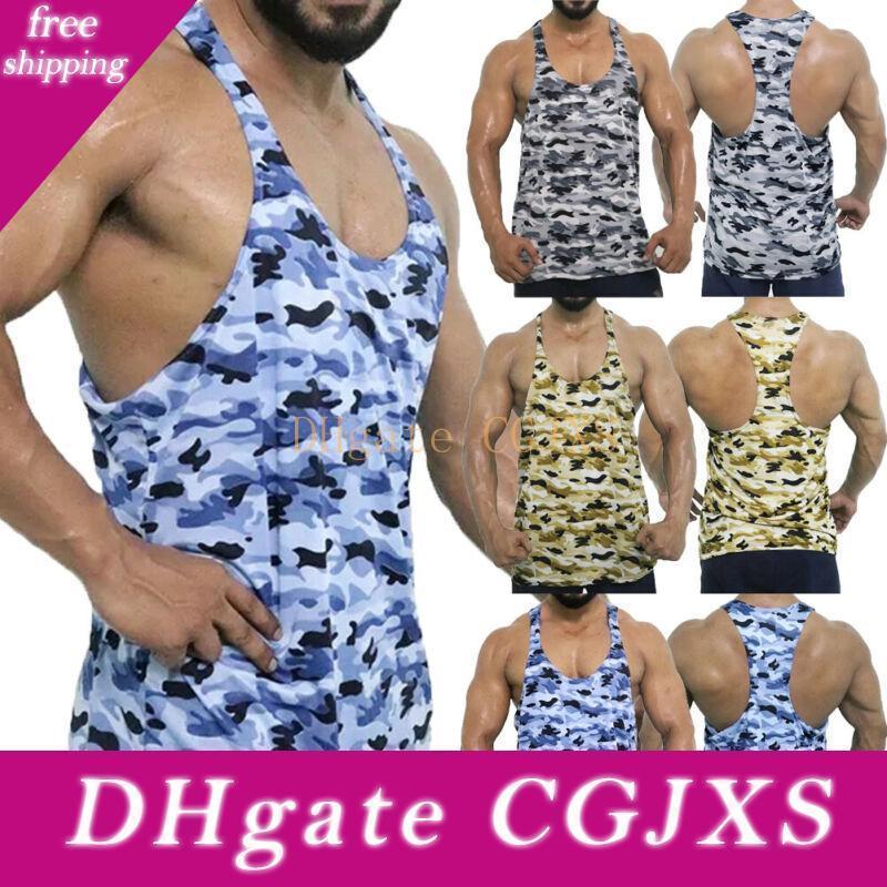 Gli uomini del camuffamento di Camo muscolare intima senza maniche t-shirt Canotta Vest Gym Sport