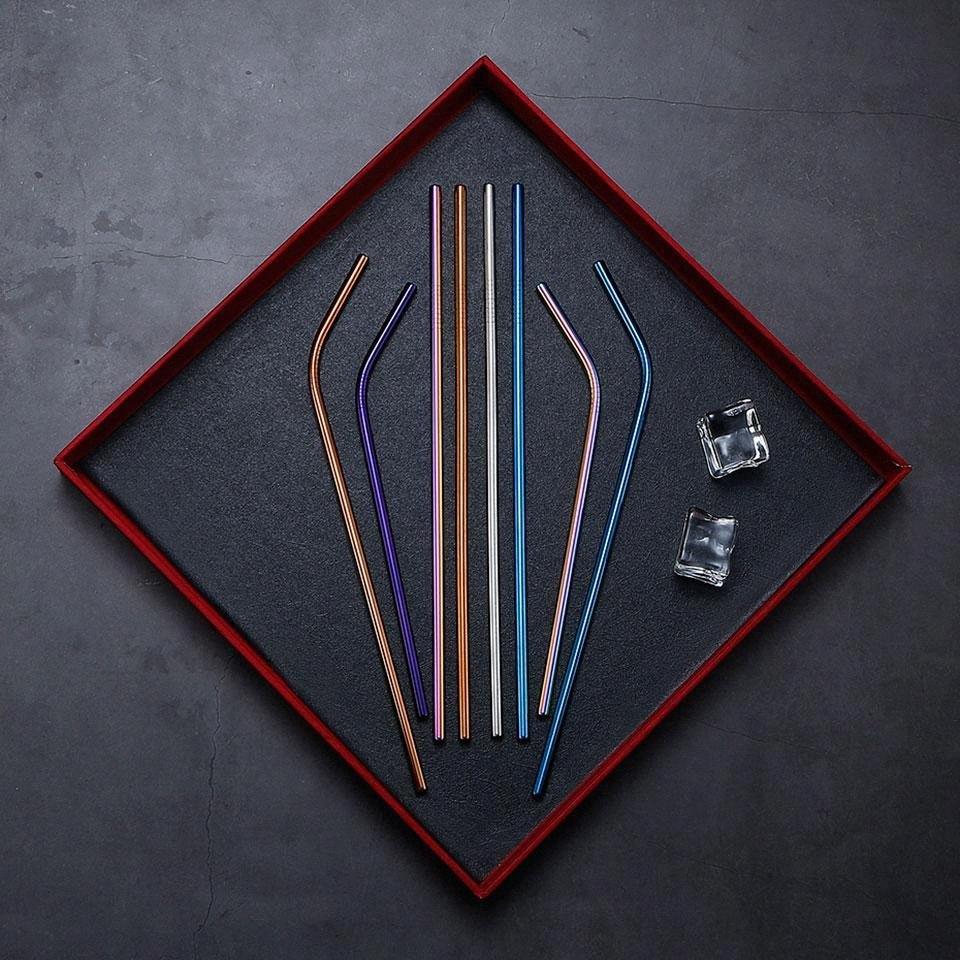 Payet Dri XccH # Out Of İçme Yeniden kullanılabilir Metal İçme Pipetler 4/304 Paslanmaz Çelik Sağlam Bent Düz İçecekler Straw Sevgililer Günü Hediyeleri