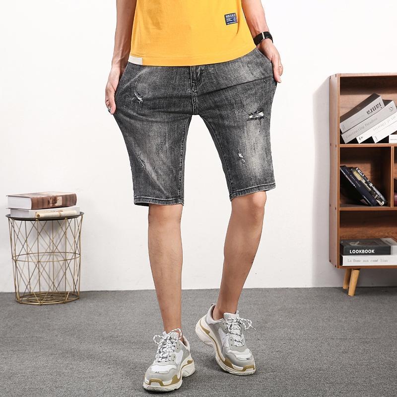 Лето новых людей пять-квартал и брюки и модные рваные джинсы случайные вертикальных SLIM стрейч джинсы мужские брюки zdqGu