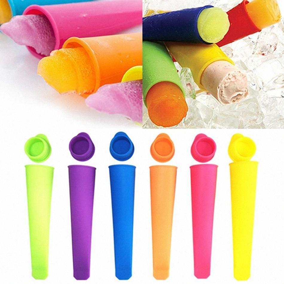 Molde de silicona con tapa de paleta de bricolaje Ice Cream Makers estallido del polo helado Herramientas de moldes colorido HHA1247 ISDE #