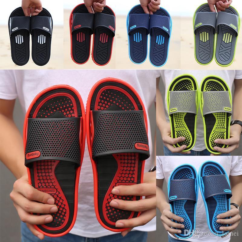 Тапочки мужчины обувь пляж обувь дышащая летом массаж слово перетащить донные спорта на открытом воздухе и сандалии отдыха нескользящей и тапочки