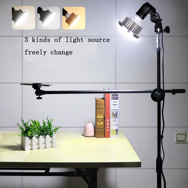 Estudio kits 1.3M ajustable Teléfono de disparo soporte del soporte con brazo boom + super brillante luz LED de 35W Photo Studio kits para Foto / Vídeo