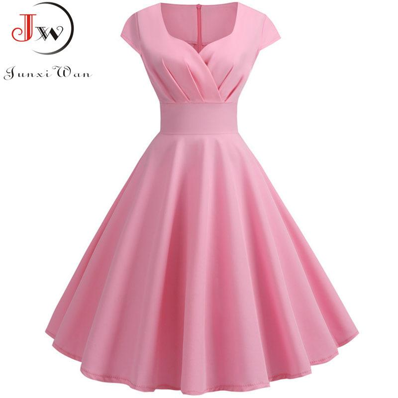 Robe rose d'été Femmes V Neck Big Swing Robe Vintage Robe Femme élégante Retro pin up Party de bureau Midi robes Plus Size LJ200808