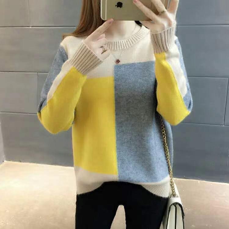 BIIVD 1RCEL 2020 primavera ed autunno New coreano maglione allentato stile colore della caramella di colore di moda di corrispondenza caramella di camicia di base lavorata a maglia girocollo