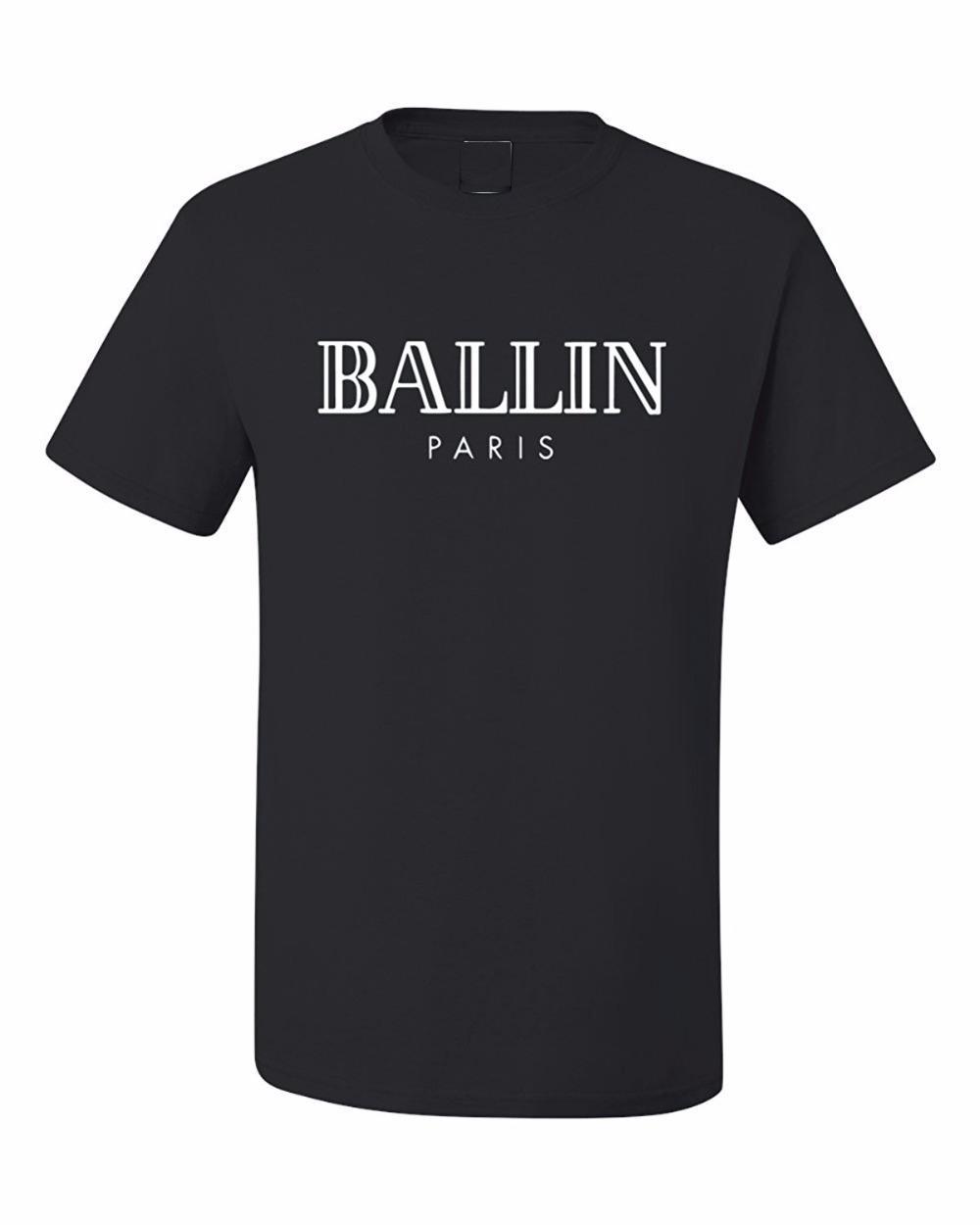 2019 Sommer-Männer Marken-Kleidung O-Ansatz Ballin Paris Urban Fashion Graphic Unisex T-Shirt mit Print Men Kurzarm-T-Shirt