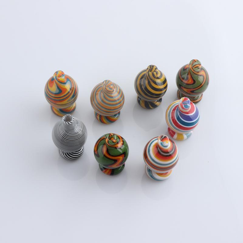 26mmod US Colorful Stripe Glass Smoking Bubble Caps Casquettes Pour Biseled Edge Quartz Banger DAB Plateau d'eau Bongs