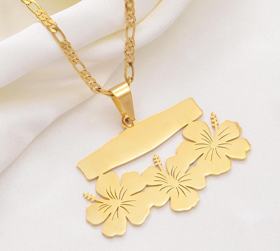 Anniyo özelleştirme adı Mektupları kolye Kolye, Doğum Kişiselleştirilmiş Baskı Tarihi veya Kişisel Fikir Hawaiian Çiçek Takı # 10742111