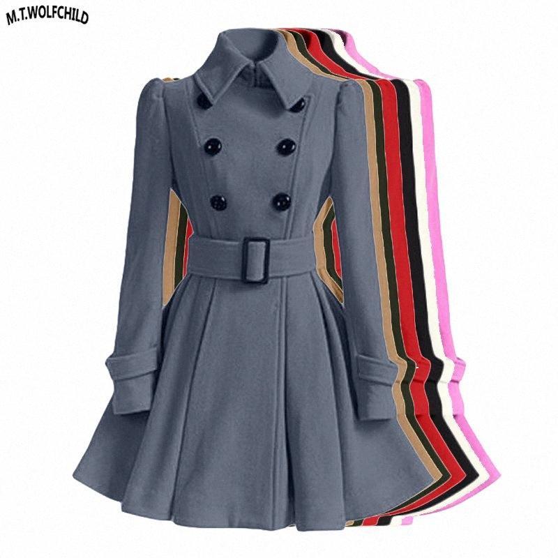 Mode Femme Automne 2018 Vêtements d'hiver Manteaux longs Slim Jupe Manteau en laine avec ceinture Casual femmes à double boutonnage Vêtements # VDeu en tête