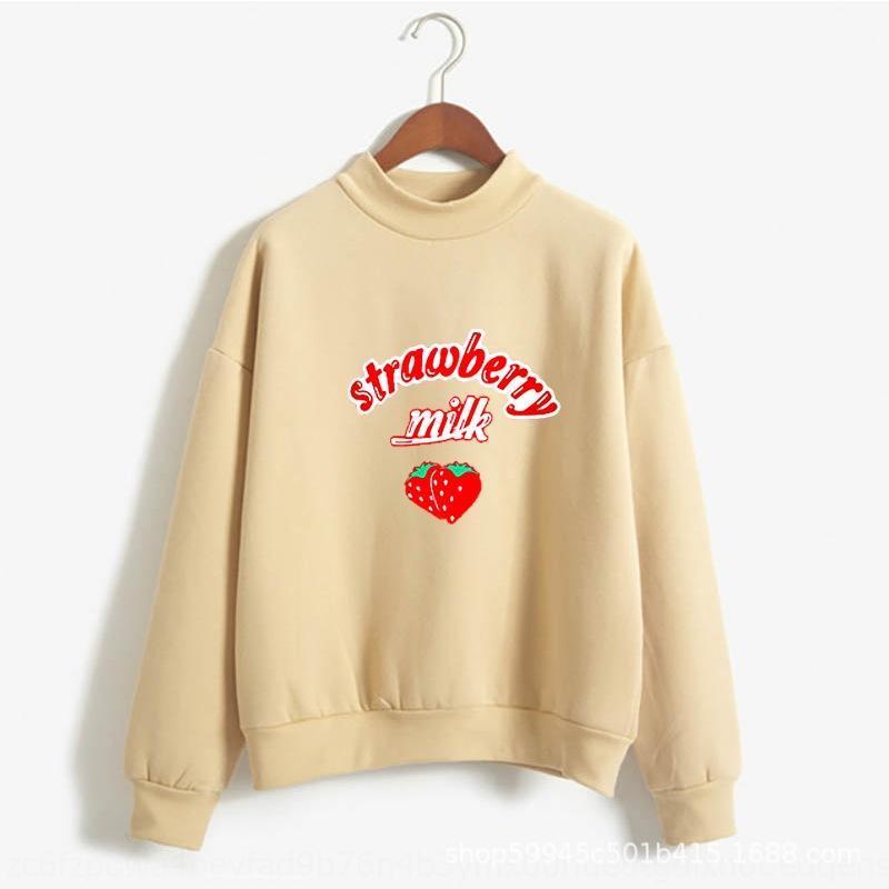 Süt Çilek baskılı desen moda sweatersweater kazak 2wJ1I desen baskılı moda Çilek Süt kazak