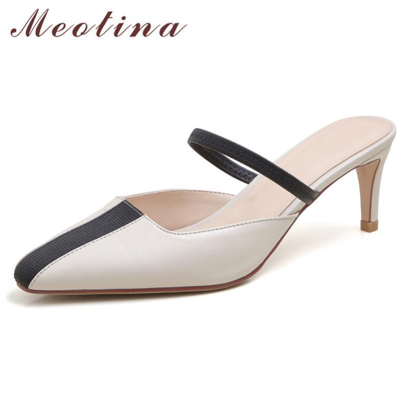 Meotina Pumpen-Frauen Natürliches echtes Leder High Heel Mules Schuh quadratische Zehe-dünne Fersen Lady Schuhe Sommer-Schwarz-Beige Größe 40