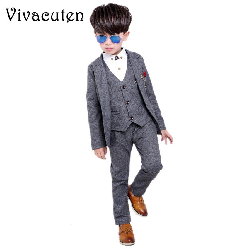 Brand Boys Formal Suits Wedding Party Tuxedo Blazer Vest Pants 3pcs Set Gentleman Kids Blazer Children Performance Clothes F005