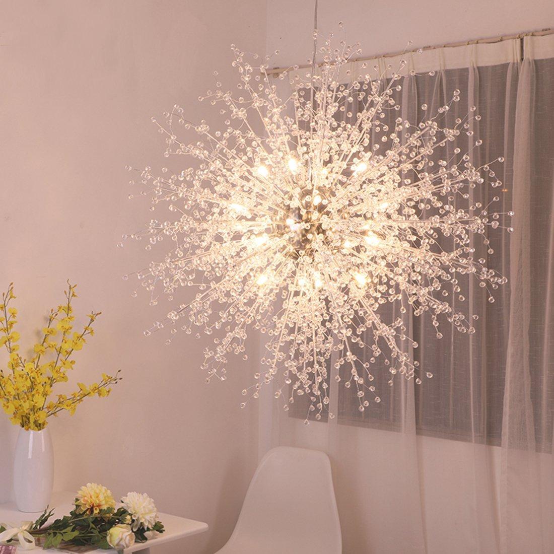 Modern Chandeliers Firework LED Light Stainless Steel Crystal Pendant Lighting LED Globe Living Room Dining Room Kitchen with G4 Bulbs