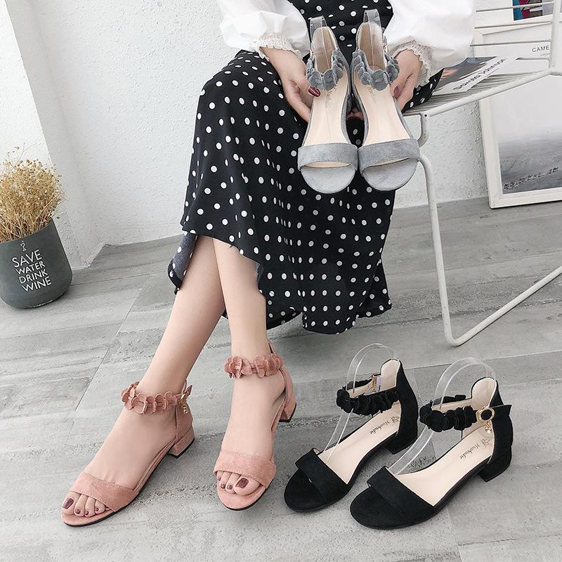 Corea Moda punta abierta del talón grueso sandalias cómodas 2020 de las mujeres de moda resistente al desgaste antideslizantes