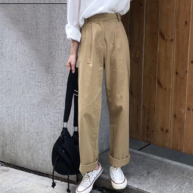 Compre Para Mujer De Cintura Alta Recta Pantalones Flojos De Longitud Completa Casuales Pantalones De Color Caqui Algodon Solido Para La Hembra 2020 Del Verano Nuevos Otono A 25 66 Del Darnelly Dhgate Com