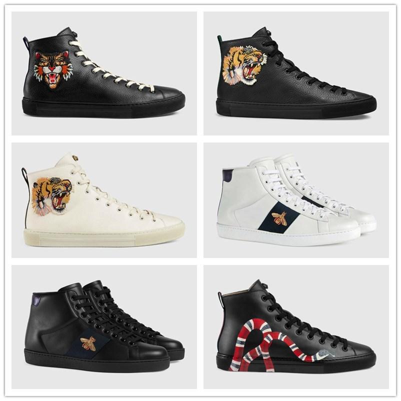 sapatos ECA bordado branco tigre abelha sapatos de couro de cobra sapatos desportivos homens e mulheres sapatilhas ocasionais 35-46