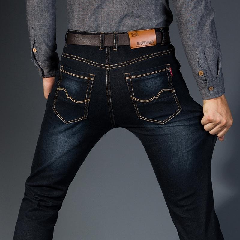 Высокая талия плюс жирный плюс размер упругой черный осенью и брюки и джинсы зимние джинсы мужские брюки свободные прямые трубы среднего возраста упругую жира