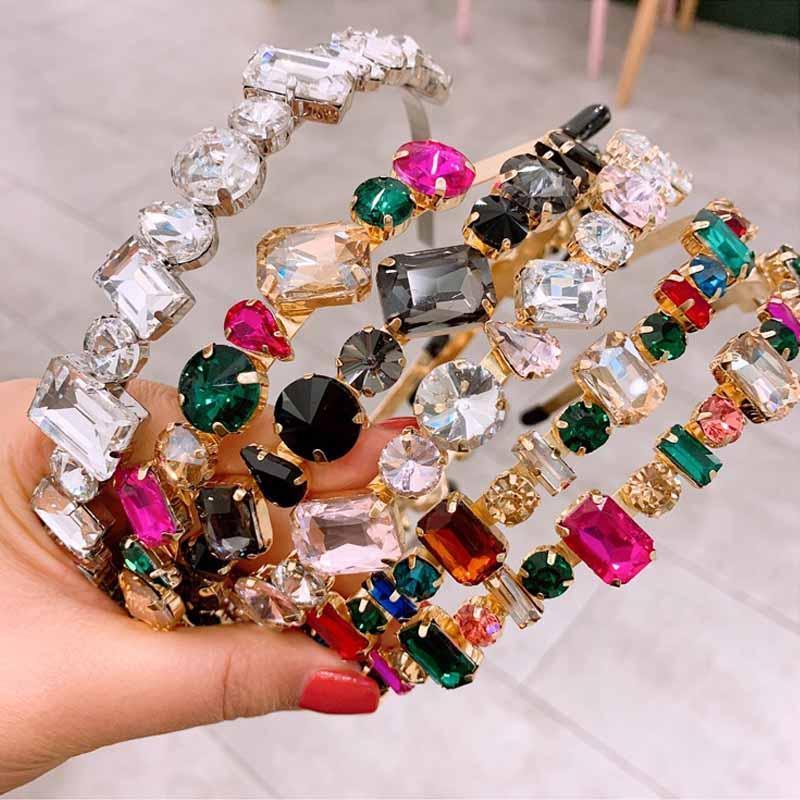 Charm Crystal Headbands for Women Colorful Stud Headband Hairband Shiny Bling Rhinestone Hair Band Hoop Jewelry Accessories DHE568