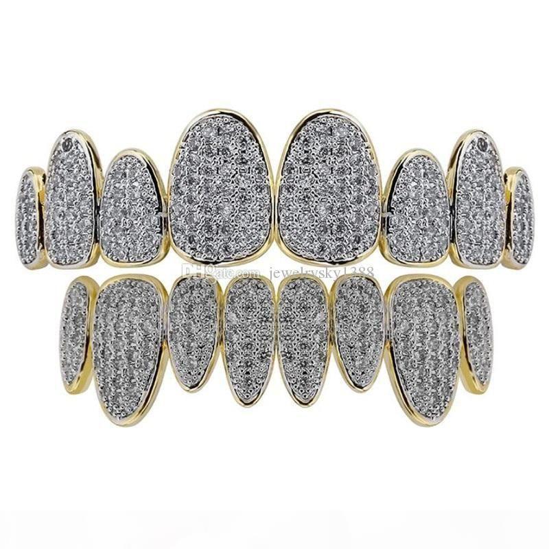 Denti di diamante oro argento Grillz delle donne degli uomini di lusso denti grillz Top Griglie inferiore griglia hip hop Jewelry Designer mens di Halloween di Natale NUOVO