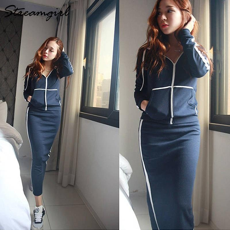 Two Piece Dress Autumn Winter 2 Outfits For Women Hoodie Sweatshirt Suit Skirt Set Top And Tracksuit 2021