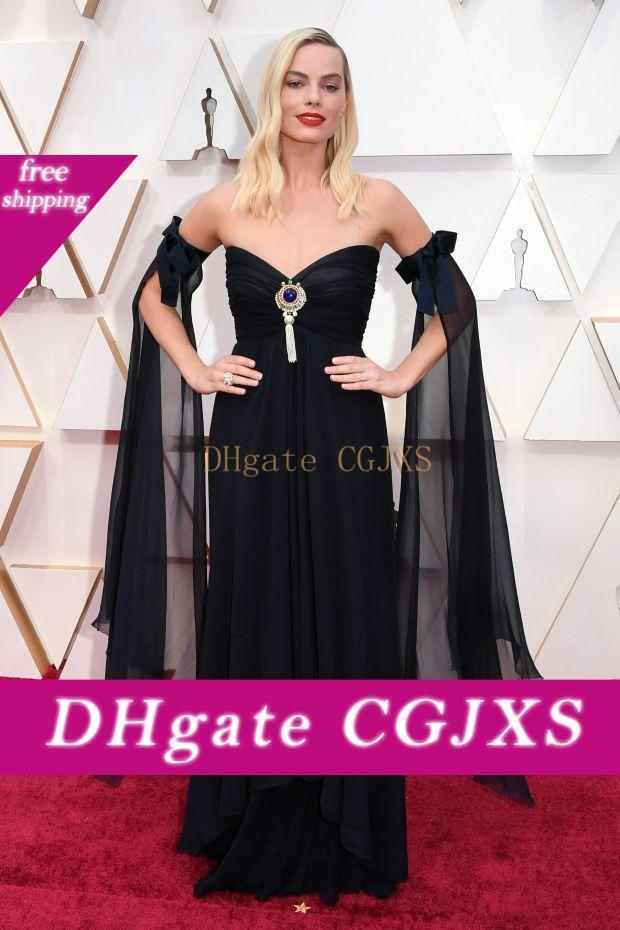 Margot Robbie Black Chiffon Prom Dresses Oscars Strapless Evening Gowns Plus Size Special Occasion Party Vestido De Fiesta Red Carpet Dress
