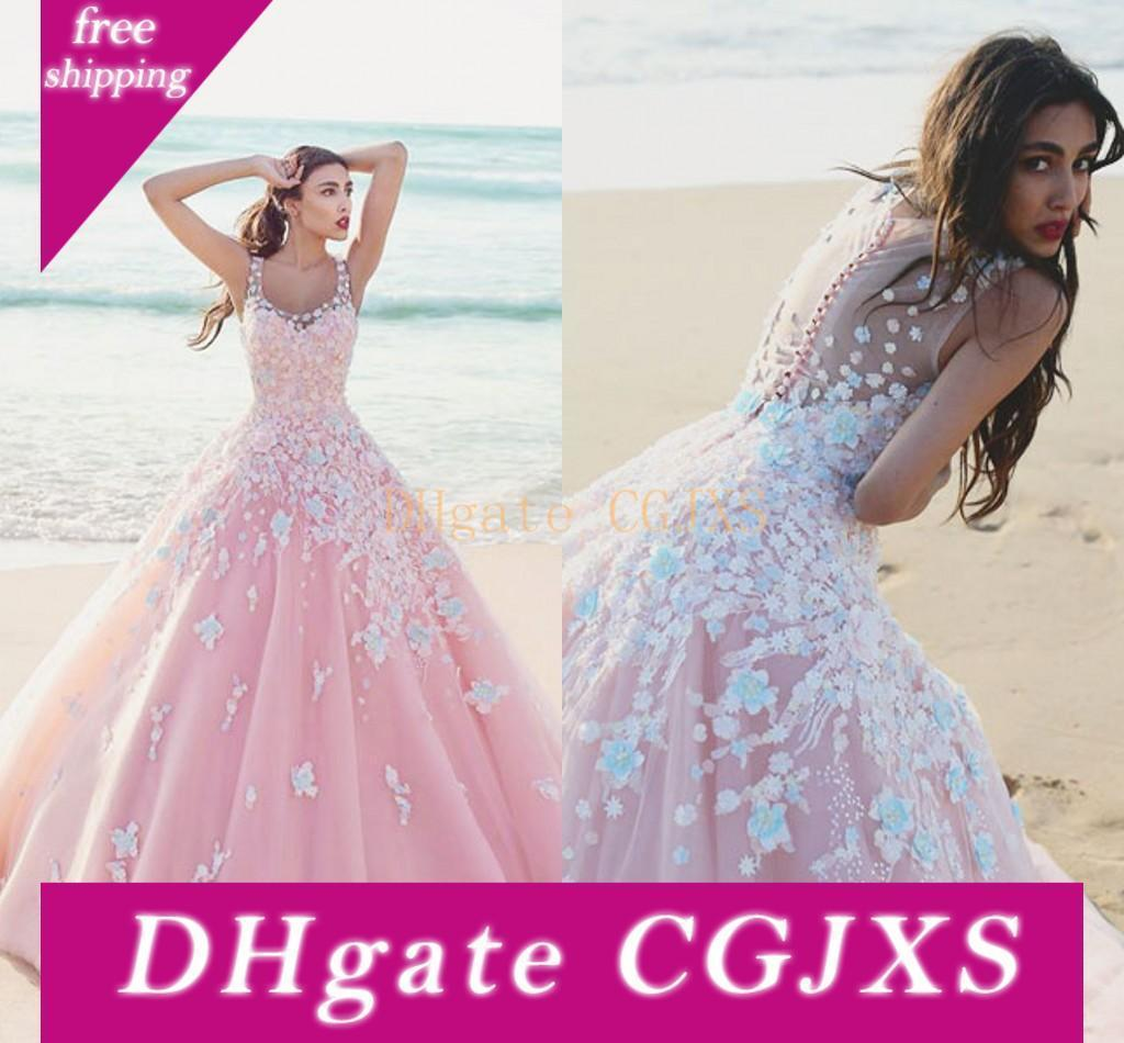 Rosa vestido de baile Quinceanera Dresses colher Sheer Straps Floral apliques Tulle Andar de comprimento Prom Vestidos Doce 16 Vestidos