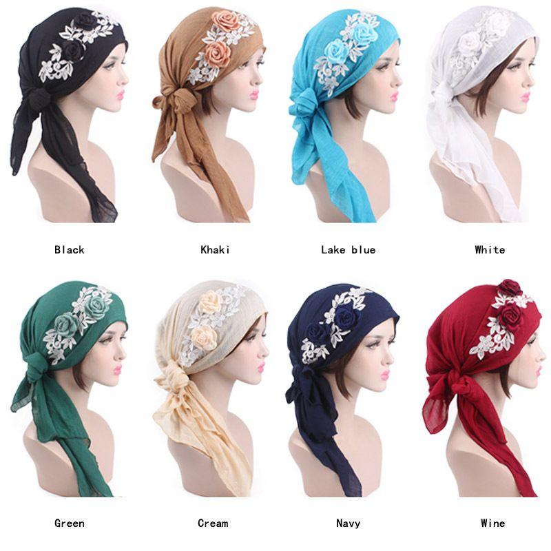 Colorazione dei capelli di stampa del cotone della sciarpa cappello Headwear Cap Combinazione perdita Turbante per le donne del merletto del fiore Cancer copertina Cura dei capelli