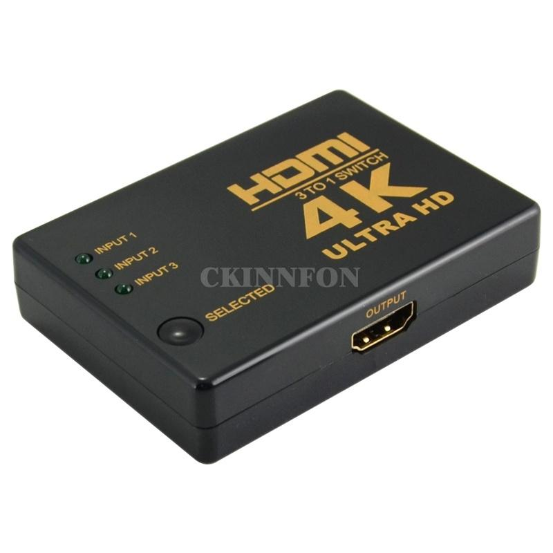 50Pcs / Lot 4K * 2K HDMI 3 pulgadas Interruptor 1out divisor de TV Switcher Box Ultra HD para televisión de alta definición PC 1080P