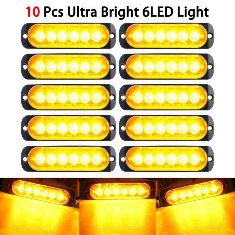 Car Truck Emergency Beacon Warning Hazard Flash Strobe Light Car Vehicle Truck Hazard Strobe Light 18W Amber 6 LED