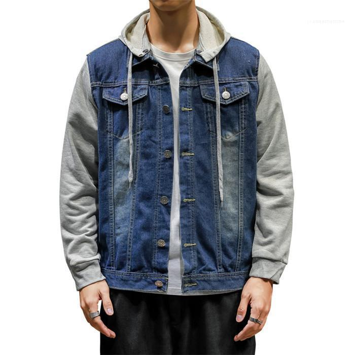 Rock Kleidung Herren Panelled Demin 5XL Jacken Frühling und Herbst mit Kapuze Ansatz dünnen Knopf Coats Teenager Punk