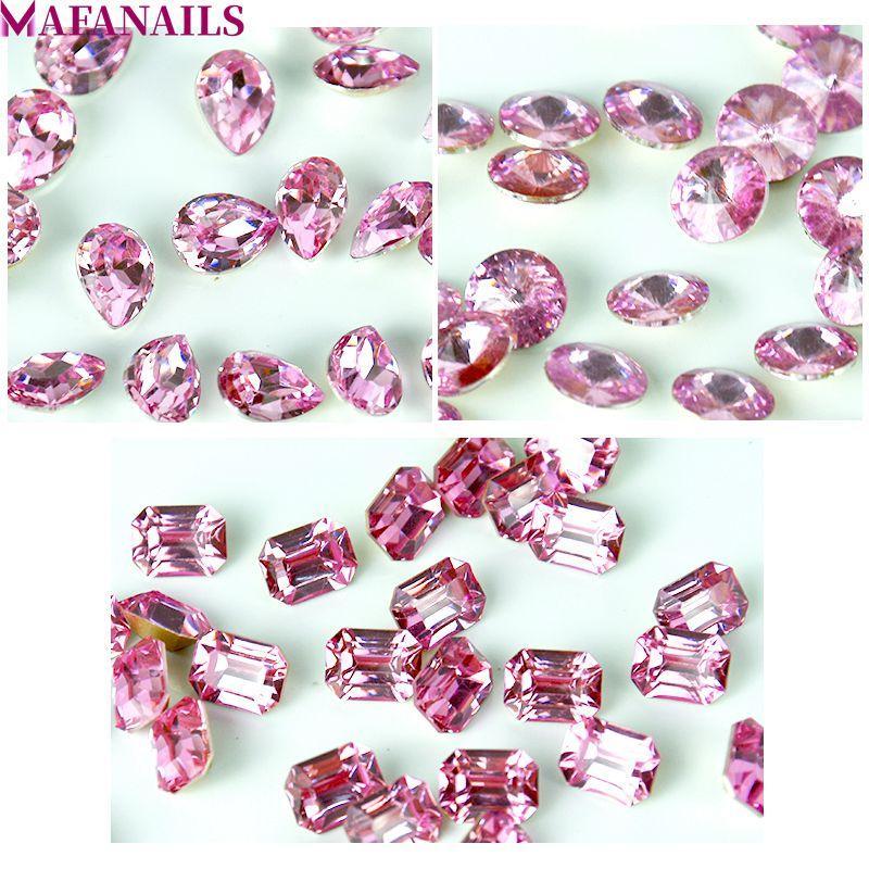 100pcs / Lot cristal ópalo rosa Flatback redondo del clavo Rhinestone redondo   Tear Drop   Octagon gema del brillo decoración de la joyería 02