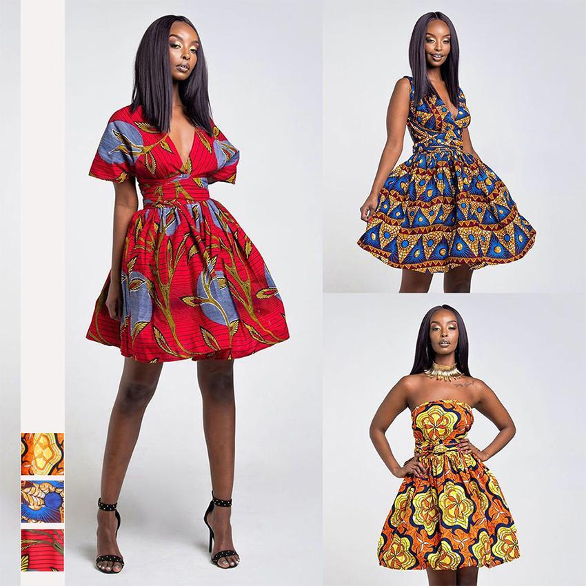 Mode Afrikanische Kleider für Frauen Blumendruck 2020 Nachrichten Robe Sommer-Party Backless Tutu Vestidos Bazin Dashiki afrikanische Kleidung CX200813