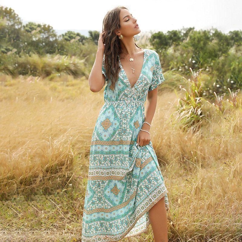 L'été Robe imprimée femmes col V Streetwear Slim taille haute longueur cheville bohème robe à manches courtes
