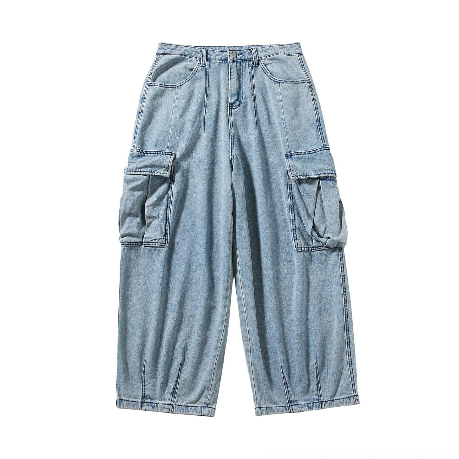 tHCak 42bcM Perth automne larges salopettes pantalons à jambes larges droites jambe large jeans hommes de jeans à la mode en trois dimensions loos de la jeunesse combinaison poche