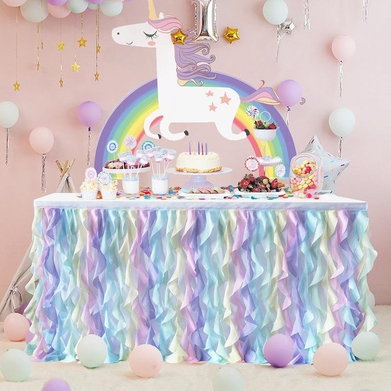 Gonna da tavolo Chiffon da sposa copertina da tavolo da tavola panno baby shower home el decor skirting Banchetto di compleanno partys
