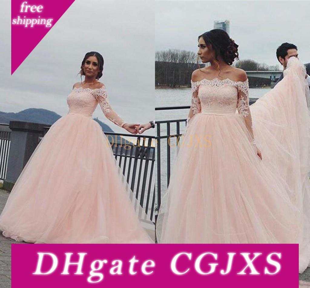 2019 Baby Pink Quinceanera Ball Gown Dresses Off Shoulder Lace Appliques Tulle Long Sleeves Sweet 16 Floor Length Party Prom Evening Gowns