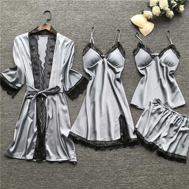 여성 잠옷 세트 숙녀 새틴 잠옷 실크 4 개 세트 나이트웨어 잠옷 스파게티 스트랩 레이스 라운지 패션