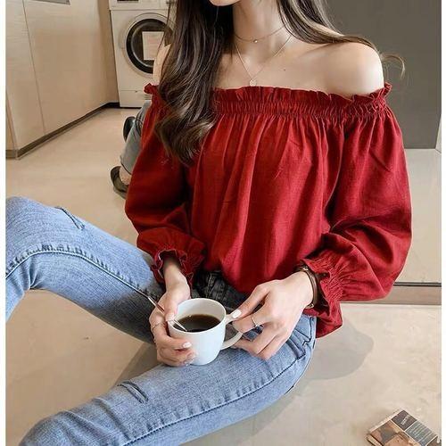 qSutD 2020 primavera e l'estate solido stile coreano sexy di colore solido allentato dimagrante foglia cappotto della spalla del manicotto Top base di colore nuovo top di loto