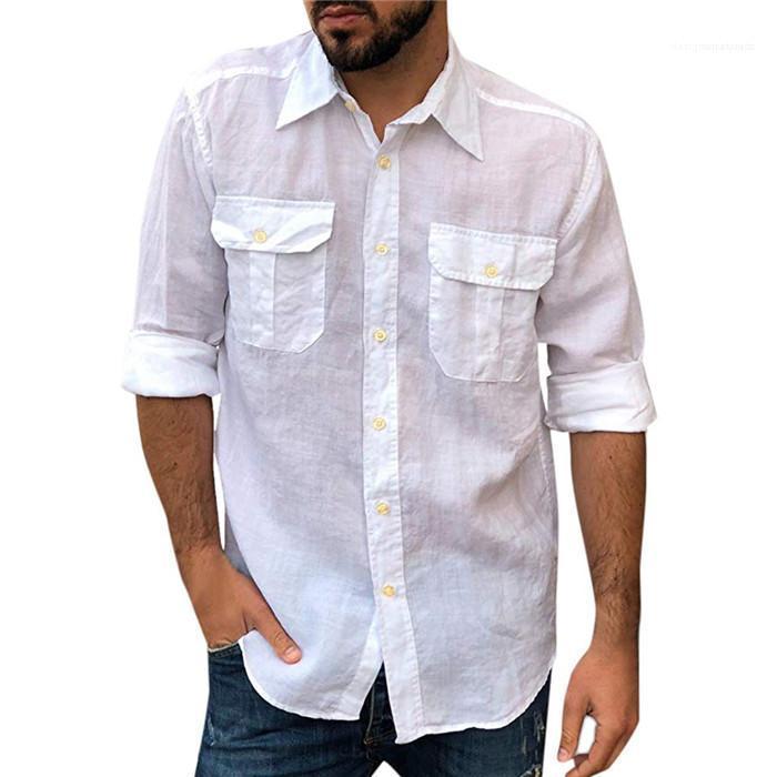 لون الصلبة قميص الذكور طويلة الأكمام قمم الرجال الجيب مزدوج الشحن SHRITS الربيع مصمم التلبيب الرقبة