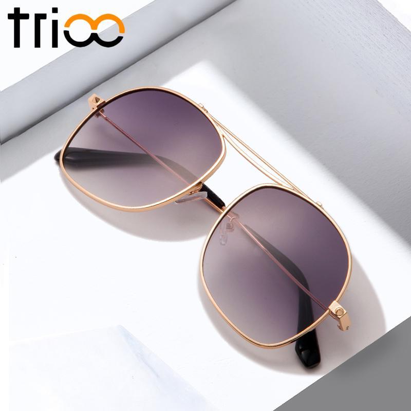Trioo Moda Sun Homens para Oversized Luxo Masculino Gradiente de Ouro Alto Gelo Projeto Óculos de Sol Grande Grande Cinza ICCIU