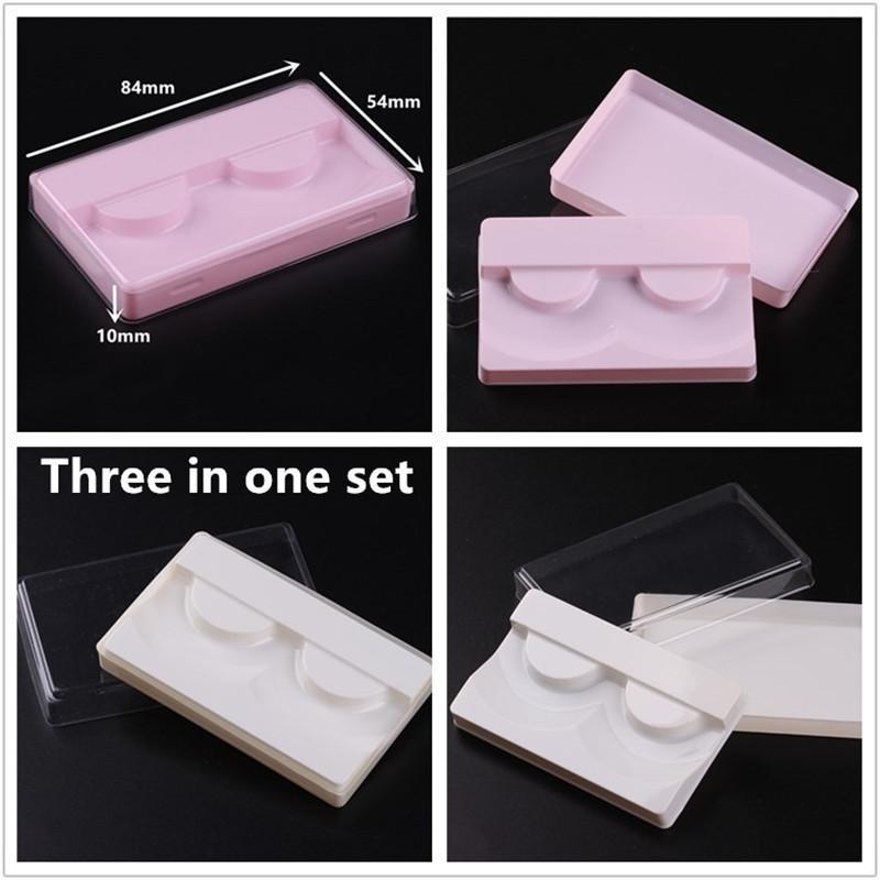 3 في 1 شفافة الأبيض الوردي الرموش التغليف البلاستيكية صندوق كاذبة الرموش علبة التخزين غطاء تحديد حالة شفاف غطاء مسح صينية
