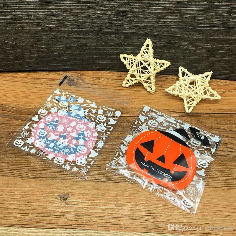 Bolsas 100pcs de Halloween auto-adhesivo de la galleta del caramelo del bolso bolsa de plástico de la galleta de la galleta bolsa de plástico calabaza fantasma impresos del regalo de la galleta VT0567