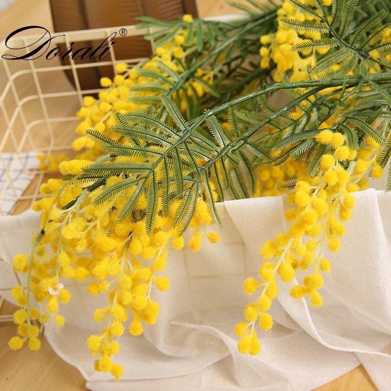88cm 3 Zweige Künstliche Acacia Yellow Mimose Spray gefälschte Silk Blumen-Hochzeit-Party-Ereignis-Dekor rote Bohnen-Anlage für X'mas 82gG #