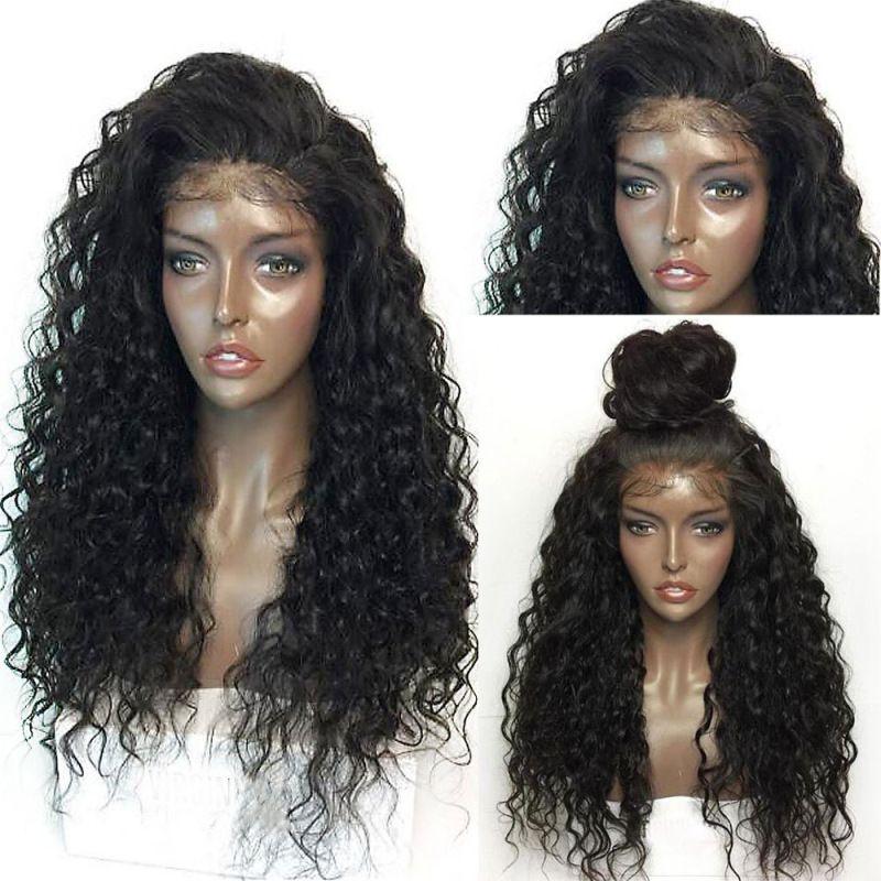 Derin Bölüm% 150 Kıvırcık İnsan Saç Peruk 13 * 6 Dantel Ön İnsan Saç Peruk Öncesi Mızraplı Islak ve Dalgalı Bob Peruk Perulu Remy saç