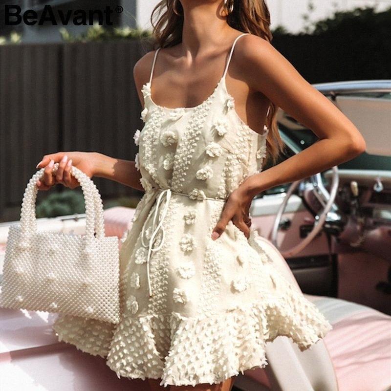 BeAvant Vintage bordados de flores vestido curto mulheres spaghetti elegante alça de laço acima branco sundress agradou verão senhoras vestidos Y2001 Cw1M #