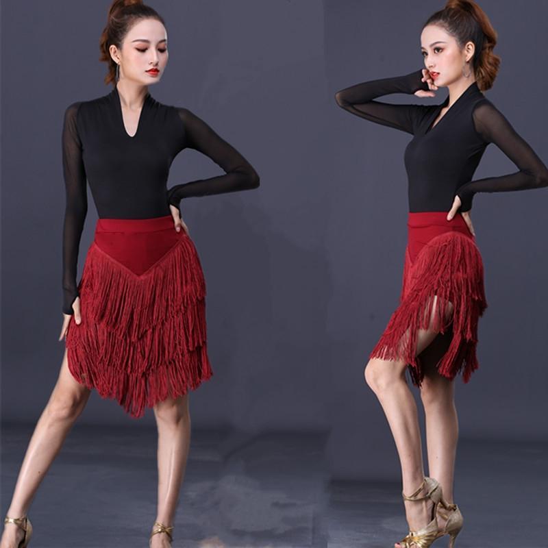Tro8G fond latin Nouvelle lZ20 jupe vêtements adultes pompon Tassel jupe pratique de vêtements de danse costume vêtements de danse féminine professer costume d'automne