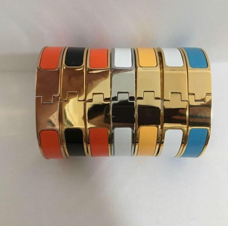 Fashion Stainless Steel Bangle Women Men Enamel Bangles Jewelry Rose Gold Silver H Letter Bracelets Love Bangle with Original velvet bag