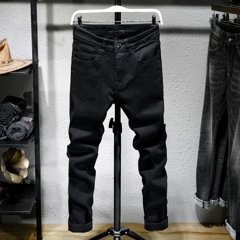 BnrFl preto e calça jeans e jeans reta fina balcão calças ajuste elástico altas dos homens dos homens