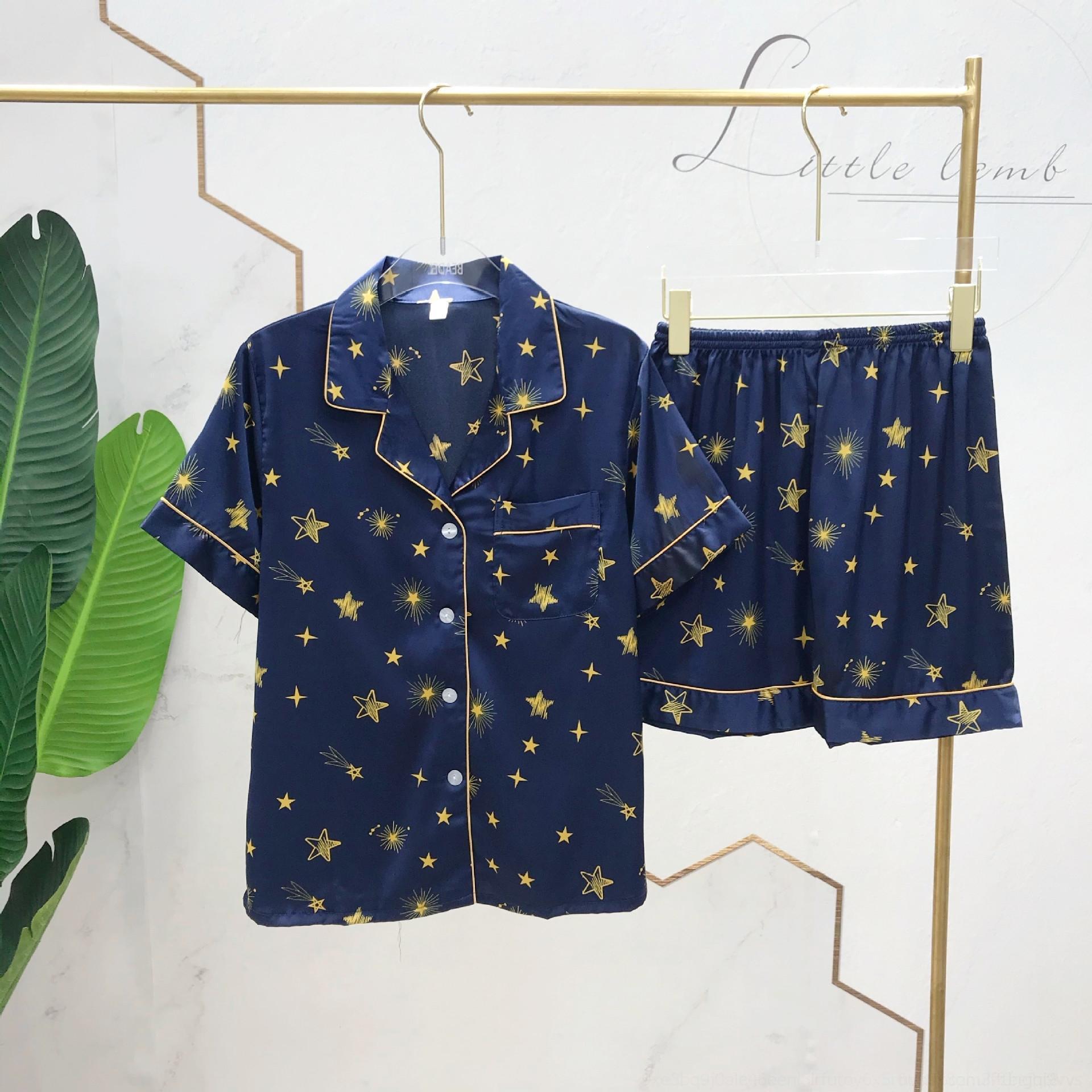 estilo pRKhl seda de gran tamaño pareja coreana c2FT4 ropa pijamas caseros ins estilo caseros de la ropa de manga corta de las mujeres impresas hielo informal de verano m